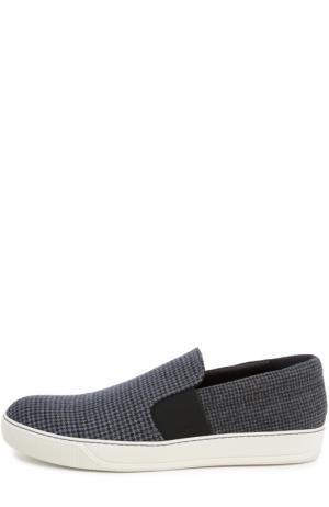 Слипоны из шерсти с эластичными вставками Lanvin. Цвет: серый