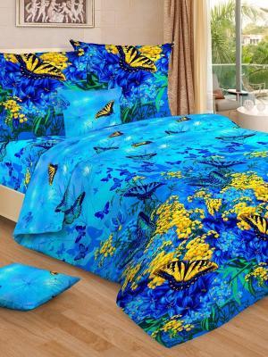 Комплект постельного белья, семейный, пододеяльник на молнии Letto. Цвет: синий,голубой,желтый