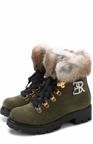 Замшевые ботинки с внутренней отделкой из овчины Ermanno Scervino. Цвет: хаки
