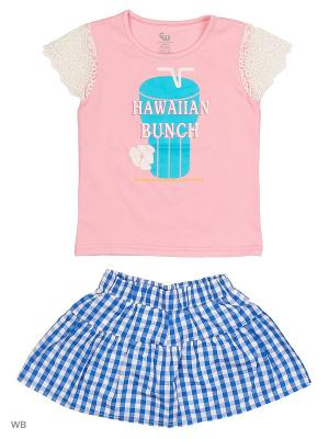 Комплект: футболка и шорты-юбка Gleoite Wardrobe. Цвет: голубой, розовый, белый