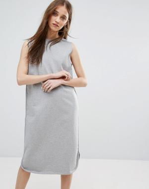 Weekday Платье-свитер без рукавов. Цвет: серый