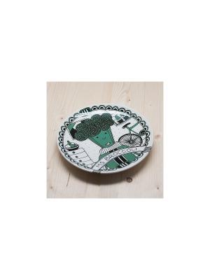 Тарелка Мисс брокколи Kawaii Factory. Цвет: зеленый, красный, белый