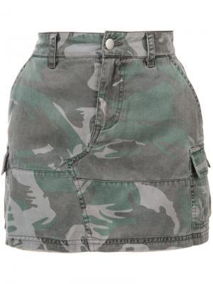Мини-юбка с камуфляжным узором Pam & Gela. Цвет: зелёный