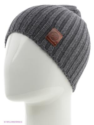 Шапка BUFF KNITTED HATS MINIMAL GREY CASTLEROCK. Цвет: темно-серый