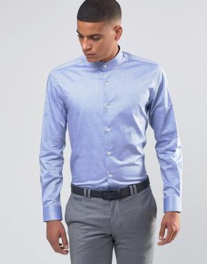 Number Eight Savile Row Рубашка с воротником застежкой на пуговицы. Цвет: синий