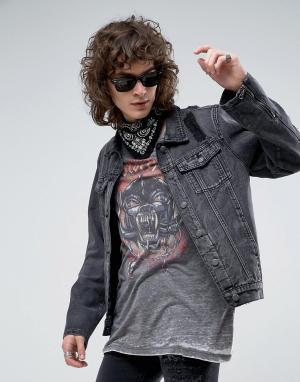 Roadies Черная выбеленная джинсовая куртка с рваной отделкой и молниями по бок. Цвет: черный