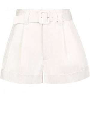 Однотонные хлопковые мини-шорты с поясом Marc Jacobs. Цвет: кремовый