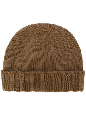 Вязаная шапка с ребристым подолом Drumohr. Цвет: коричневый