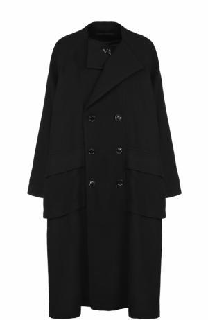 Двубортное шерстяное пальто свободного кроя Yohji Yamamoto. Цвет: черный