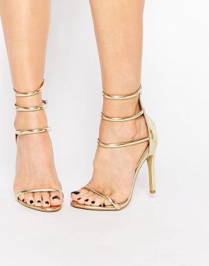 Public Desire Сандалии на каблуке Aisha. Цвет: золотой
