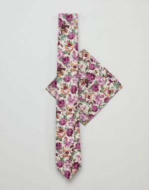 Burton Menswear Галстук и платок для нагрудного кармана розового цвета с цветочным при. Цвет: розовый