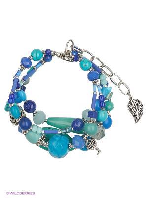 Браслет Роман с камнем. Цвет: бирюзовый, синий