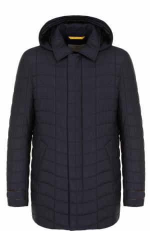 Стеганая куртка на молнии с капюшоном Canali. Цвет: темно-синий