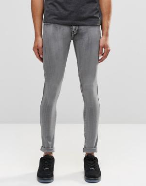 Dr Denim Серые выбеленные супероблегающие джинсы Kissy. Цвет: серый