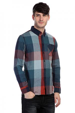 Рубашка утепленная  Leech Ls Flannel Ash Altamont. Цвет: синий,красный