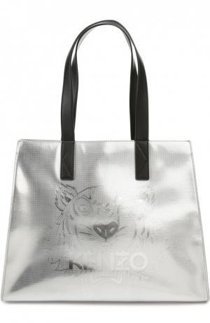 Металлизированная сумка-тоут Tiger Kenzo. Цвет: серебряный
