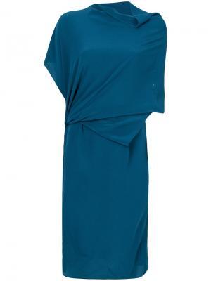 Платье с драпировками Humanoid. Цвет: синий