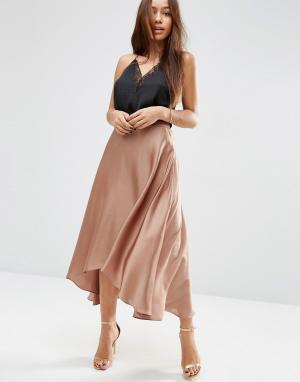 ASOS Атласная юбка миди с разрезами. Цвет: медный