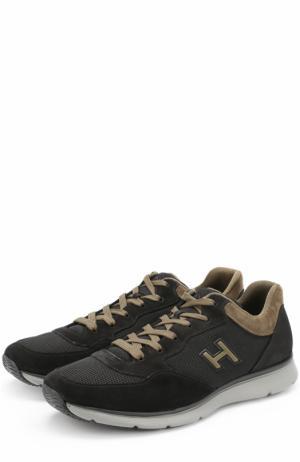 Комбинированные кроссовки на шнуровке Hogan. Цвет: черный