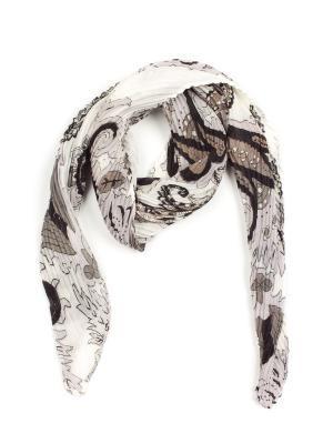 Платок Pretty Mania. Цвет: белый, светло-серый, черный