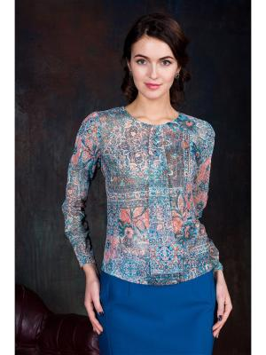 Блузка KEY FASHION. Цвет: голубой, коралловый