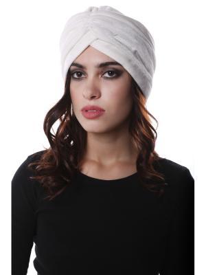 Чалма-шапочка утепленная на флисе Белый бархат предварительно завязанная SEANNA. Цвет: белый