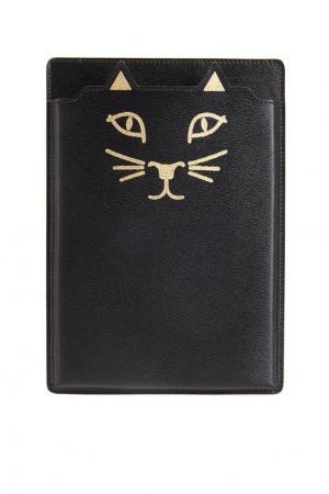 Кожаный чехол для iPad Feline Mini Charlotte Olympia. Цвет: черный