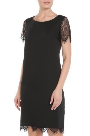 Полуприлегающее платье с кружевом La Reine Blanche. Цвет: черный