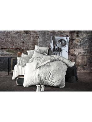 Комплект постельного белья JASPER сатин, 200ТС, серебряная печать, евро ISSIMO Home. Цвет: серебристый