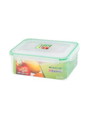 Контейнер герметичный 2 л XEONIC CO LTD. Цвет: прозрачный, зеленый