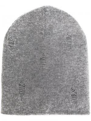 Вязаная шапка с эффектом потертости Dondup. Цвет: серый