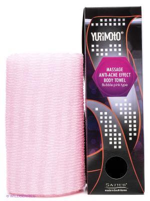 Мочалка массажная с анти-акне эффектом YURIMOTO MASSAGE ANTI-ACNE BODY TOWEL BUBBLE Satico. Цвет: розовый