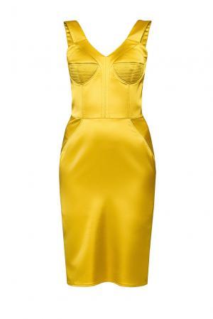 Платье-футляр с оригинальным бюстье ML-190636 Malta. Цвет: желтый