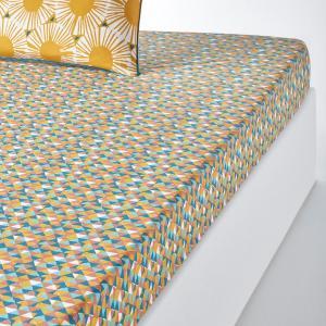 Простыня натяжная, JAHIA La Redoute Interieurs. Цвет: рисунок желтый/синий