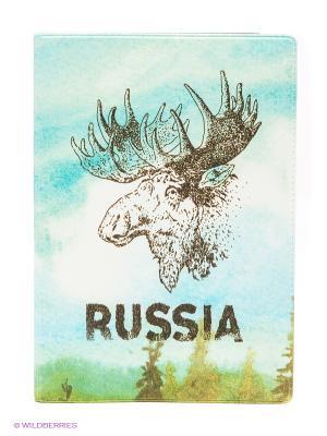 Обложка для автодокументов Лось Mitya Veselkov. Цвет: коричневый, белый, бирюзовый