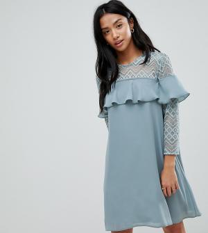 Elise Ryan Petite Платье А-силуэта с оборками. Цвет: зеленый