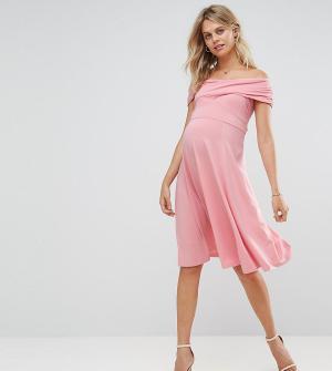 ASOS Maternity Короткое приталенное платье для беременных. Цвет: розовый
