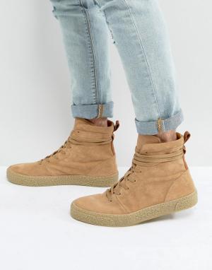 ASOS Замшевые кроссовки-ботинки песочного цвета со вспомогательной петлей A. Цвет: светло-бежевый