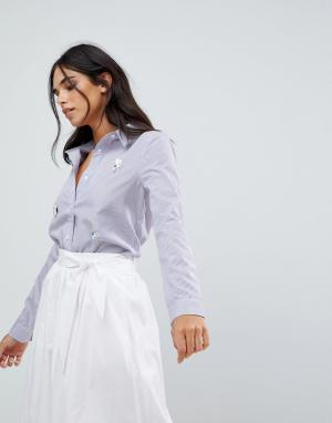 The English Factory Рубашка с нашивками. Цвет: синий