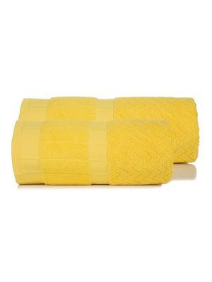 Набор махровых полотенец ЗИГЗАГИ цв. желтый  50х90+70х140 TOALLA. Цвет: желтый