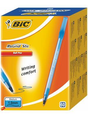 Ручка шариковая BIC Round Stic синяя, 60 штук. Цвет: синий