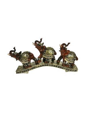 Фигурка декоративная Три слона Русские подарки. Цвет: кремовый, белый
