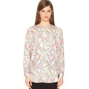 Блузка с круглым воротником, рисунком и длинными рукавами PEPALOVES. Цвет: наб. рисунок/ розовый