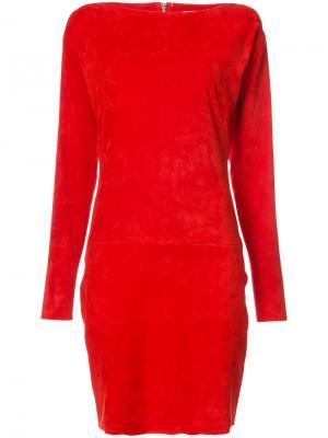 Приталенное платье с вырезом-лодочкой Jitrois. Цвет: красный