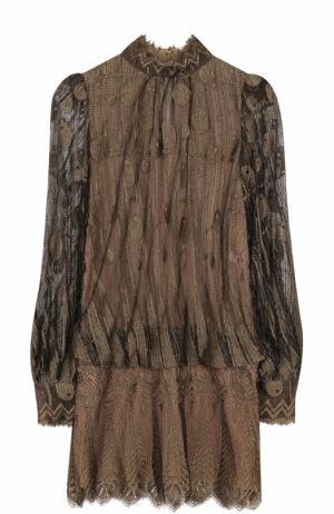 Приталенное полупрозрачное мини-платье Marc Jacobs. Цвет: золотой