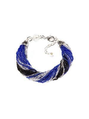 Браслет бисерный, 24 нитей, цвет 22 Bottega Murano. Цвет: черный, серебристый, синий