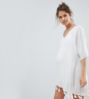 ASOS Maternity Пляжная накидка с кисточками. Цвет: белый