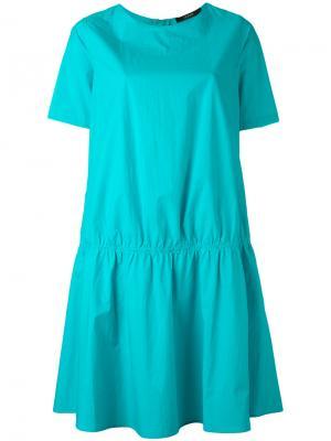 Присборенное платье-футболка Odeeh. Цвет: синий