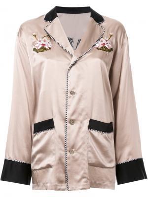 Рубашка с цветочной вышивкой G.V.G.V.. Цвет: коричневый
