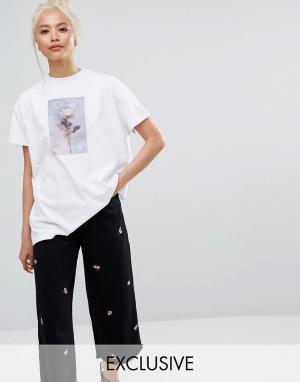 Lazy Oaf Oversize-футболка с принтом розы. Цвет: белый